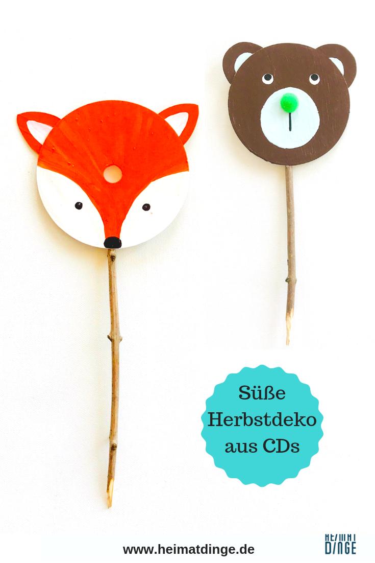 Kindergeburtstag im Wald: Waldtiere aus alten CDs für Schatzsuche basteln -