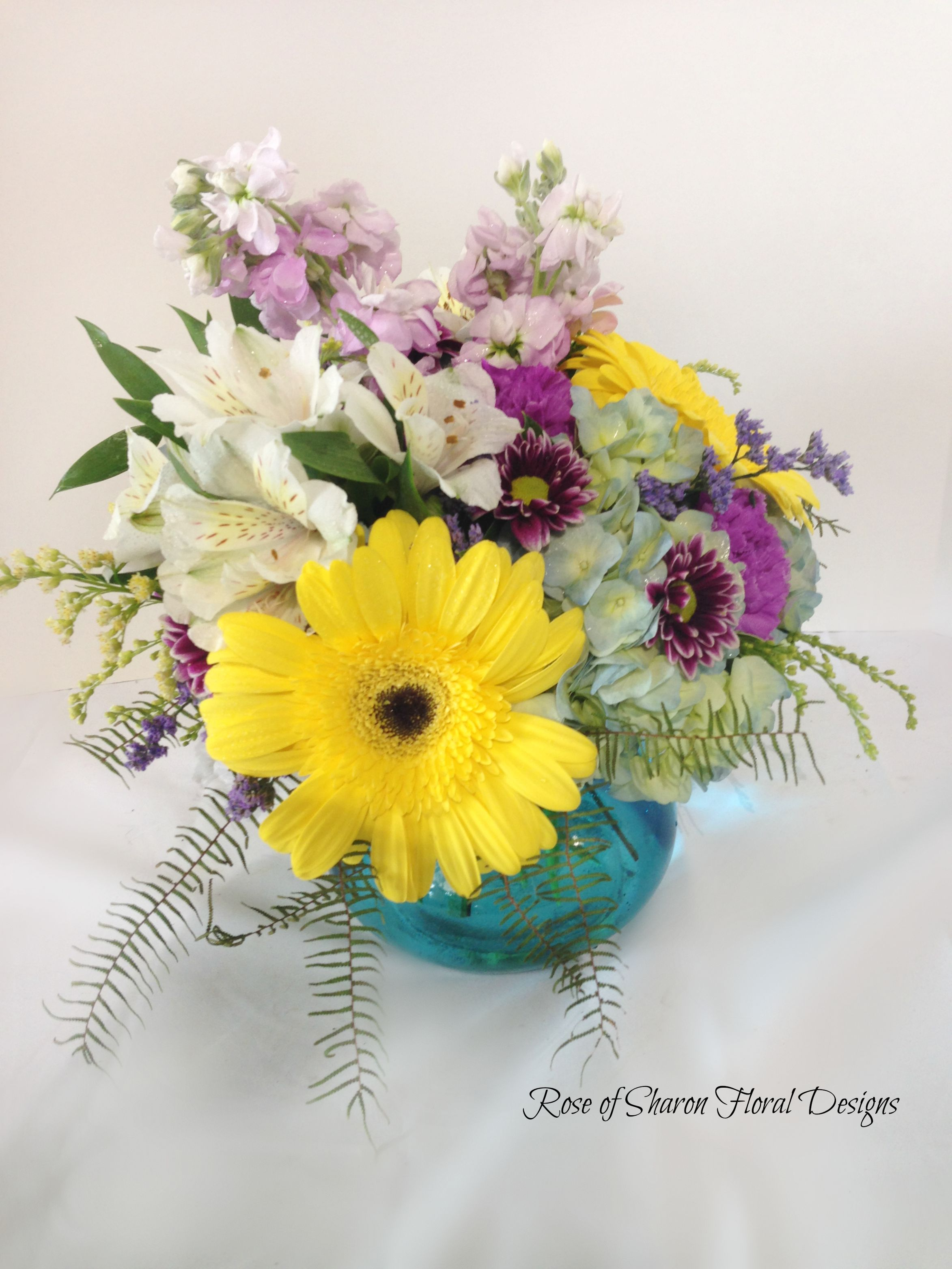 Rose of sharon floral designs yellow and purple garden arrangement rose of sharon floral designs yellow and purple garden arrangement withe daisies izmirmasajfo
