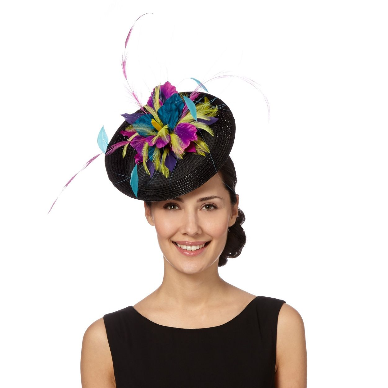 Top Hat by Stephen Jones Designer black feather disc fascinator- at  Debenhams.com d8cc75fa8e8