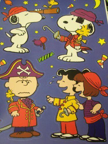 Peanuts Snoopy Halloween Window Cling ~ Pirate Adventures (16 Clings - halloween window clings