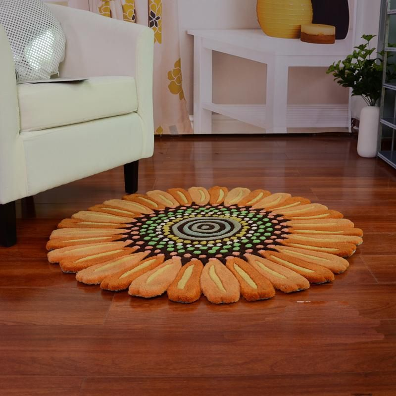 Sunflower Shaped Fl Small Area Rug