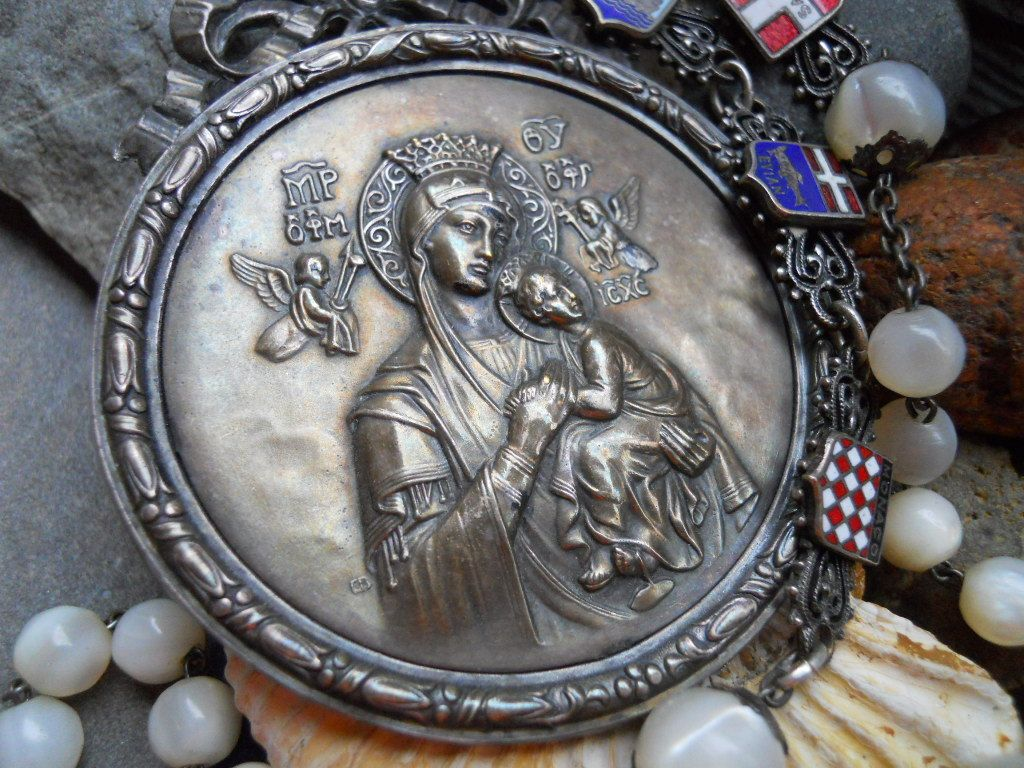 The Greatest Gift   Antique French Religious Haus Altar Assemblage Necklace by HappyMoonDesigns on Etsy