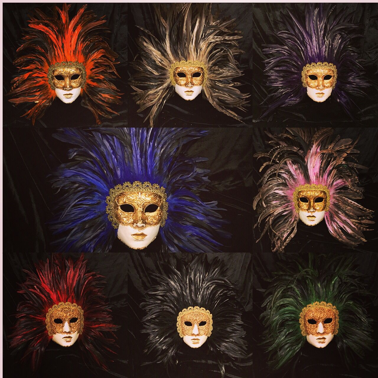 Feathers masks in paper mache