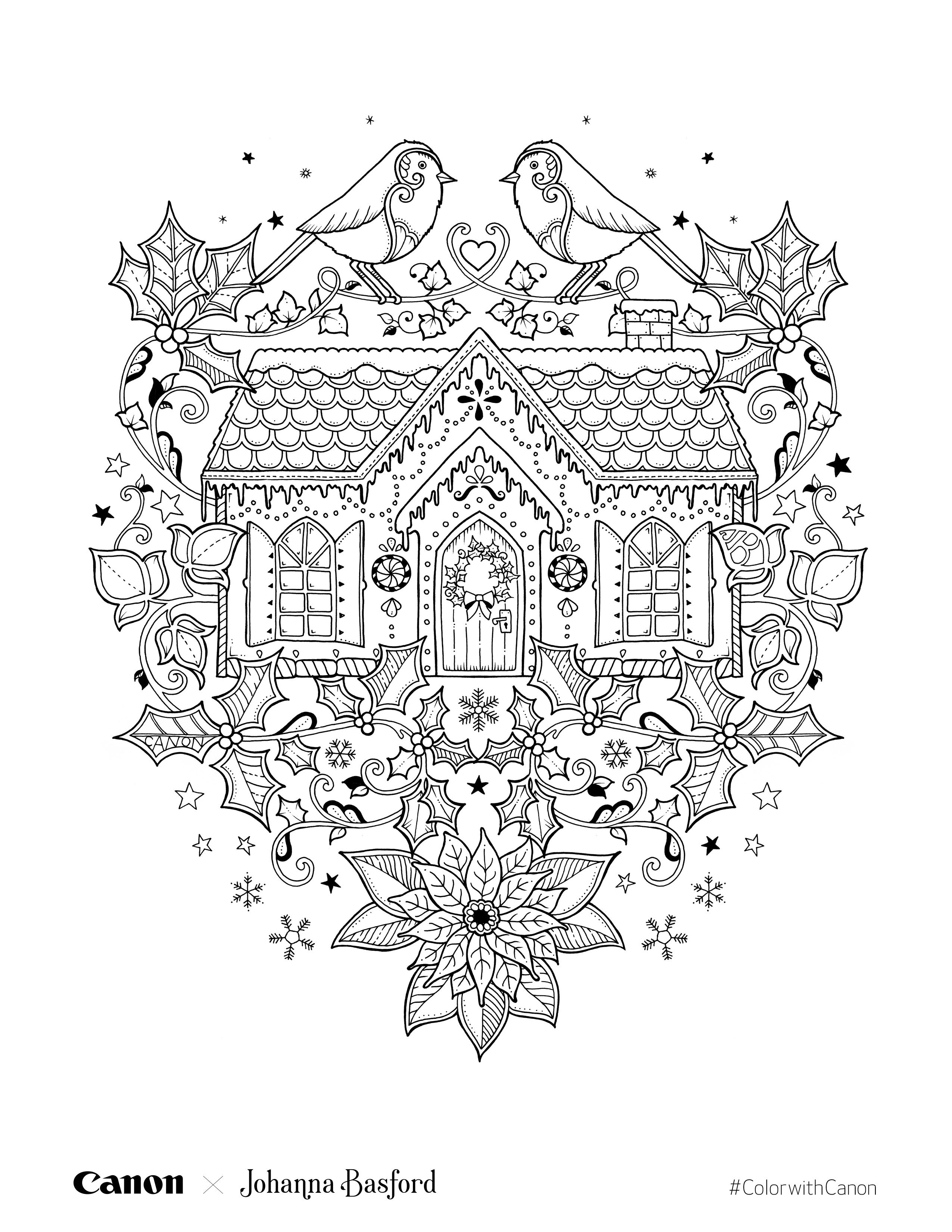 christmas setting coloring page