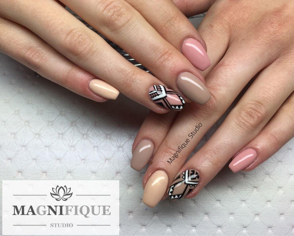 Nude nails Nägel Aztec handgemalt naildesign Nailart   Nail Design ...