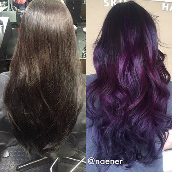 Before and after: box colored BLACK hair to deep purple balayage . Hair by Nancy Vo | Yelp