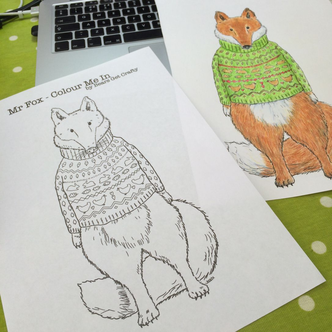 Mr Fox in a woolly sweater. Free to download colouring activity sheet by Jools Wilson. Click 'visit' to go to my blog and download.