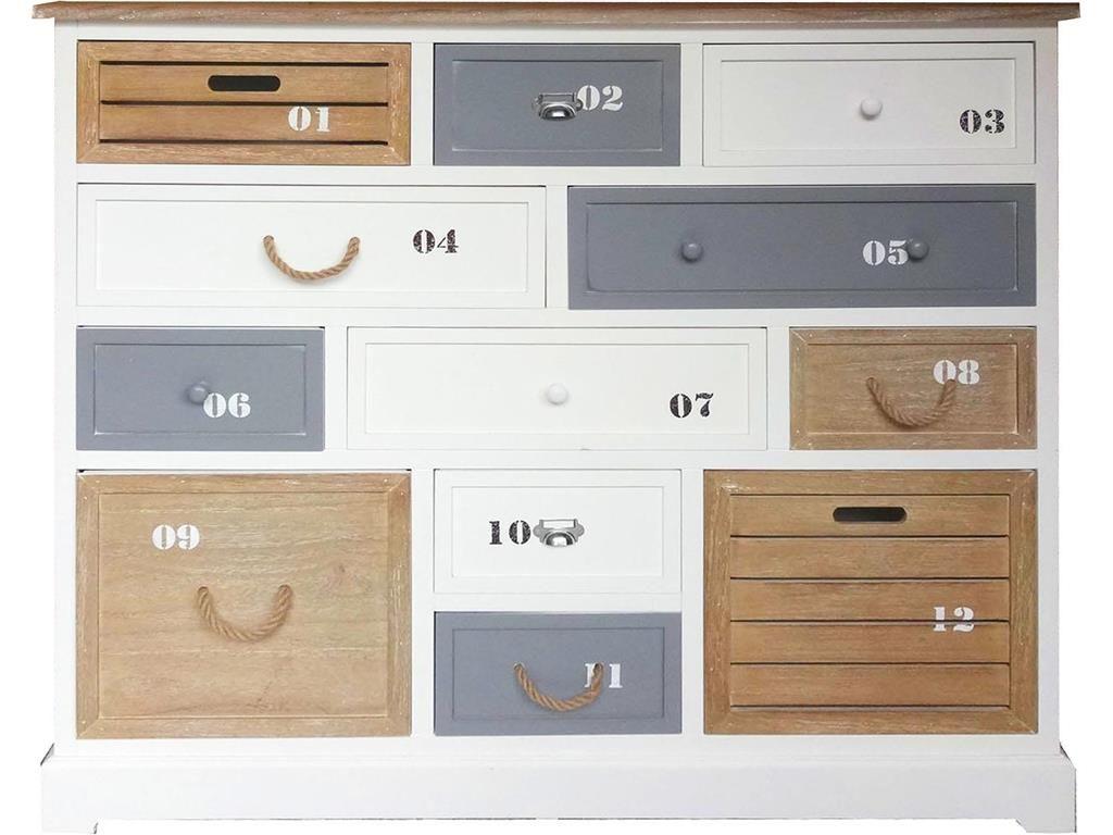Kommode Maritim Weiß mit 12 Schubladen, Höhe 108cm, Jetzt bestellen ...