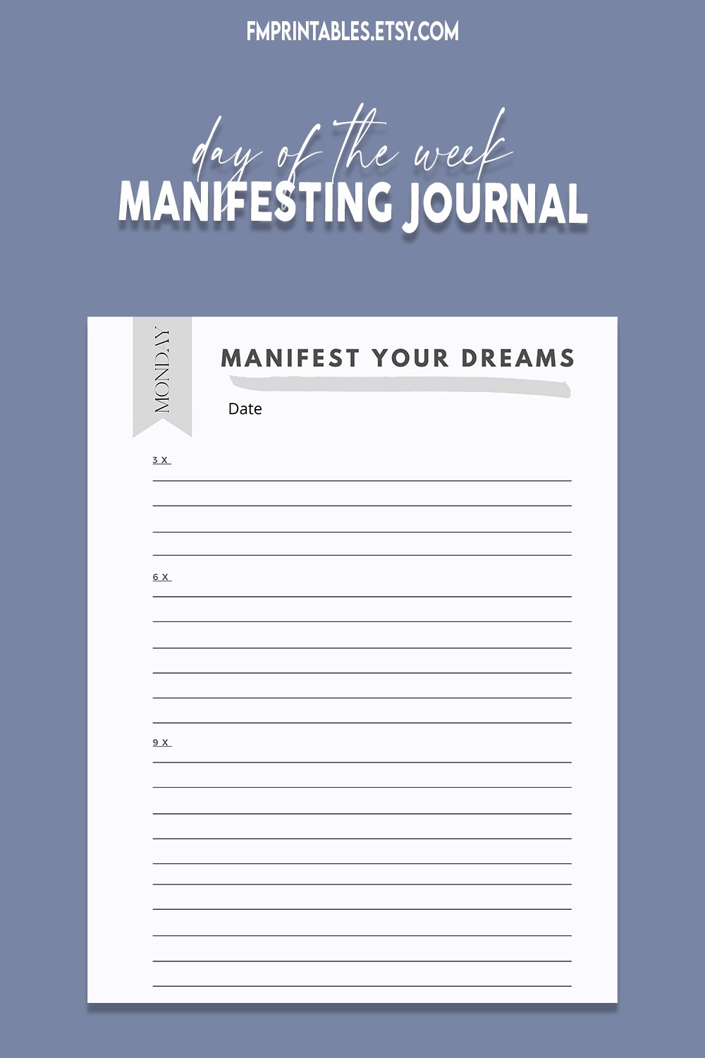 Day Of The Week Manifestation Journal 3 6 9 Method Instant Download Printable Manifestation Journal Manifestation Dreaming Of You