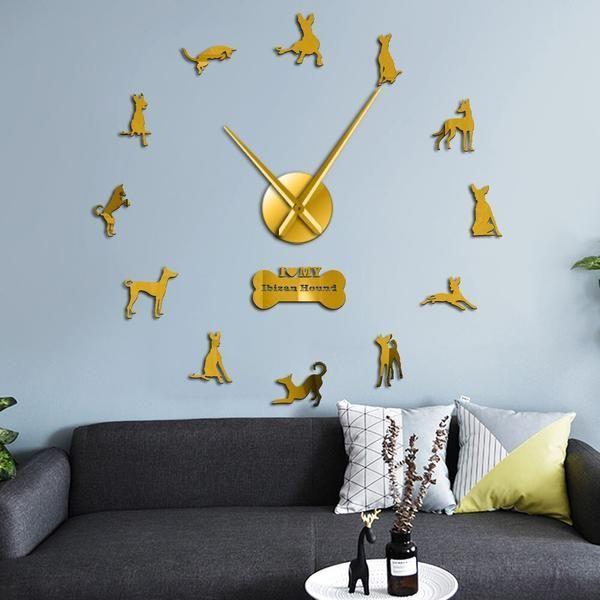 Ibizan Hound Large Wall Clock Spain Dog Breed Podenco Ibicenco Dog Pets Modern Wall Clock Home Decor DIY Wall Art Wall Stickers - #Breed #clock #hound #ibizan #large #podenco #spain - #LargeWallMirror