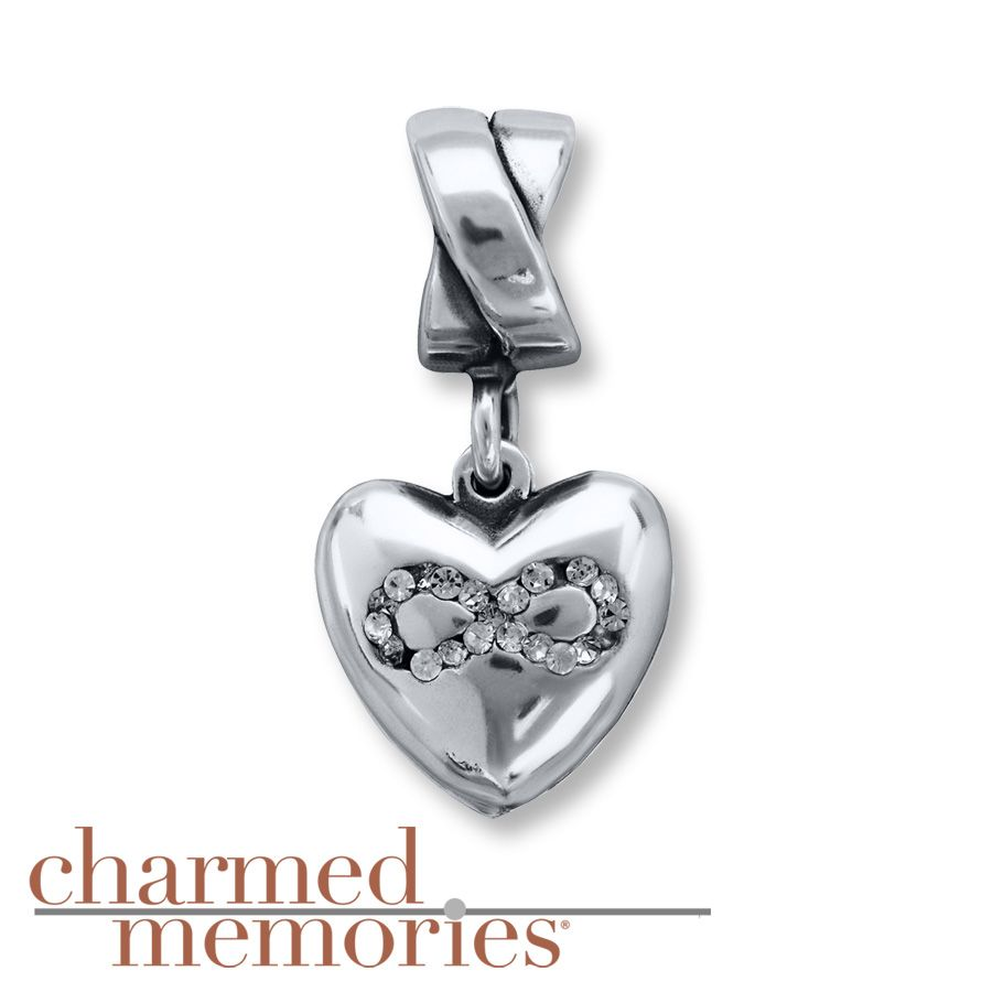 Charmed Memories Heart Charm Blue CZ Sterling Silver