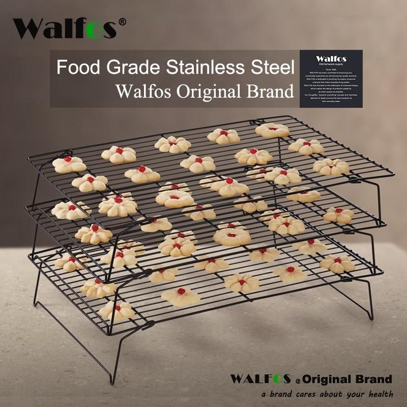 Kich Walfos 3 Layers Stackable Cooling Rack Metal Cake Cookie Biscuits Bread Cooling Rack Net Mat Holder Dry Cooler For Cooking Biscuit Bread Cake Cookies Cooling Racks