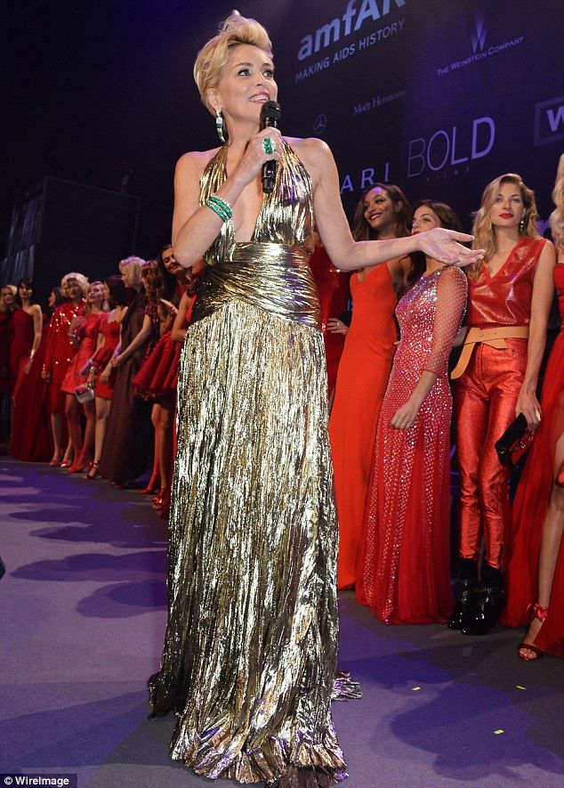 The world's top models strut their stuff at amfAR's Cinema Against AIDS gala to raise money for charity - hosted by the legendary Sharon Stone!  #amfar #sharonstone #cannesfestival #mygoodness