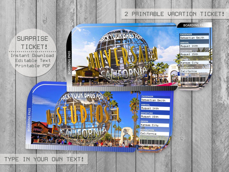 Universal Studios California Trip Ticket Editable File Boarding Pass Surprise Vacation Tickets California Travel Surprise Vacation Universal Studios Tickets