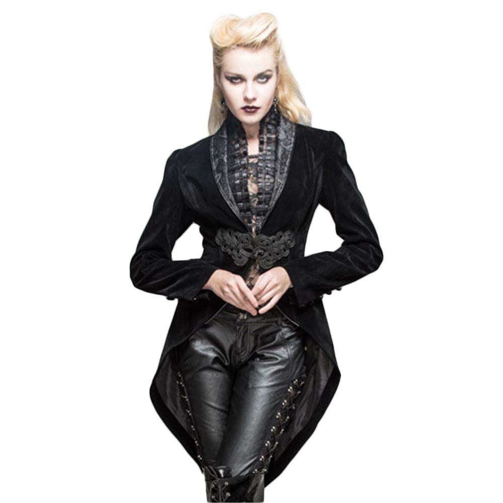 Devil Fashion Requiem Mens Jacket Tailcoat Black Velvet Gothic Steampunk VTG