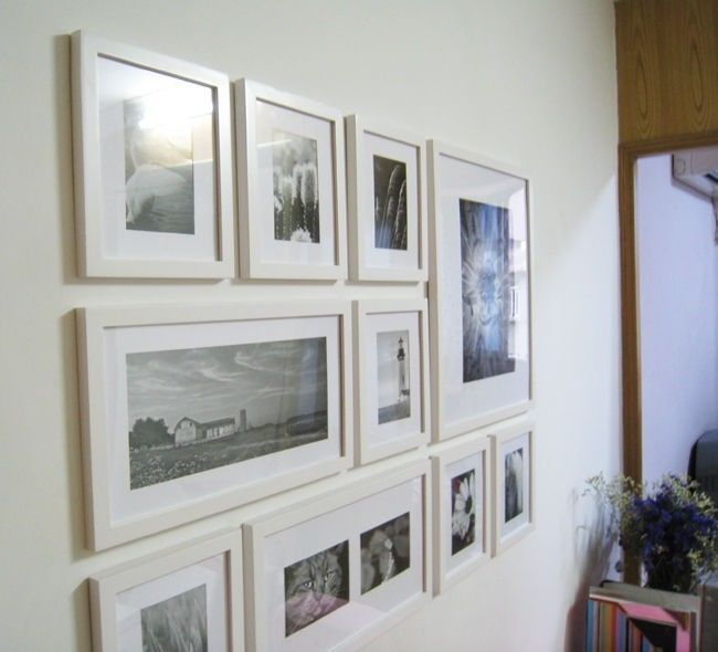 Wooden Photo Picture Frame Wall Collage Set of 10 Modern White