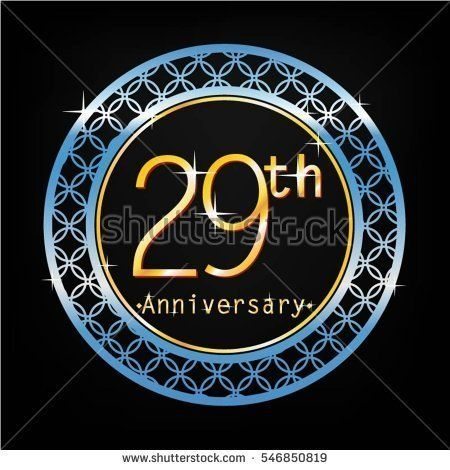 black background and blue circle 29th anniversary for business and various event