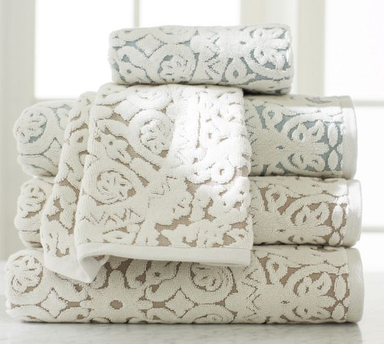Sammie tile bath towels pottery barn bamboobathmakeover