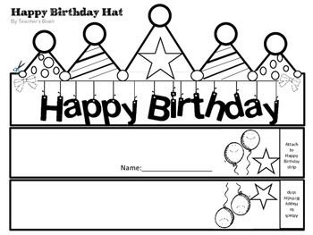 photograph relating to Printable Birthday Hat referred to as Satisfied Birthday Hat Editable Pencil Toppers Certification