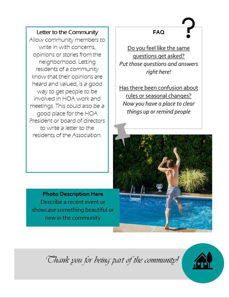 Hoa Newsletter Neighborhood Newsletter Editable Newsletter Etsy In 2021 Editable Newsletter The Neighbourhood Newsletter Templates