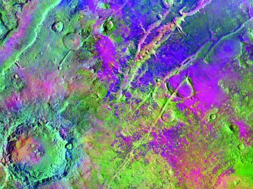A new survey of ancient lakebeds in the Nili Fossae region of Mars (above) revealed that only a third show evidence of deposits of mud and clay on the surface today. If life evolved on Mars, deposits of clay and sediment could contain fossil evidence of its existence as they have on Earth.