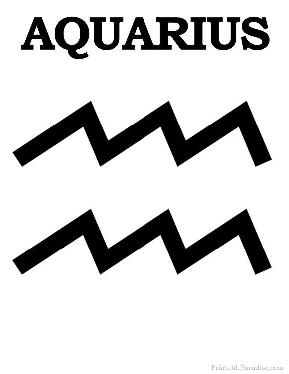 Printable Aquarius Zodiac Sign Print Aquarius Symbol Work
