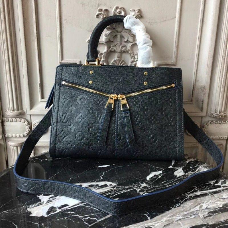 Louis Vuitton M54196 Zipped Handbag PM Monogram Empreinte Leather Noir 678cd53359d40