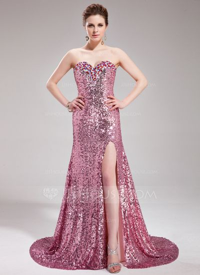 Prom Dresses - $176.99 - A-Line/Princess Sweetheart Court Train Sequined Prom Dress With Beading (018019681) http://jjshouse.com/A-Line-Princess-Sweetheart-Court-Train-Sequined-Prom-Dress-With-Beading-018019681-g19681