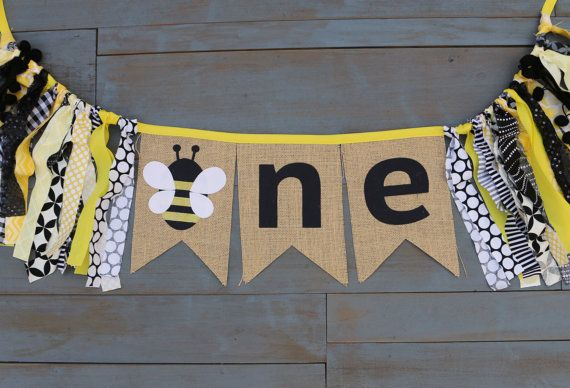 ONE Bumble Honey Bee First Birthday Party Decorations Black &