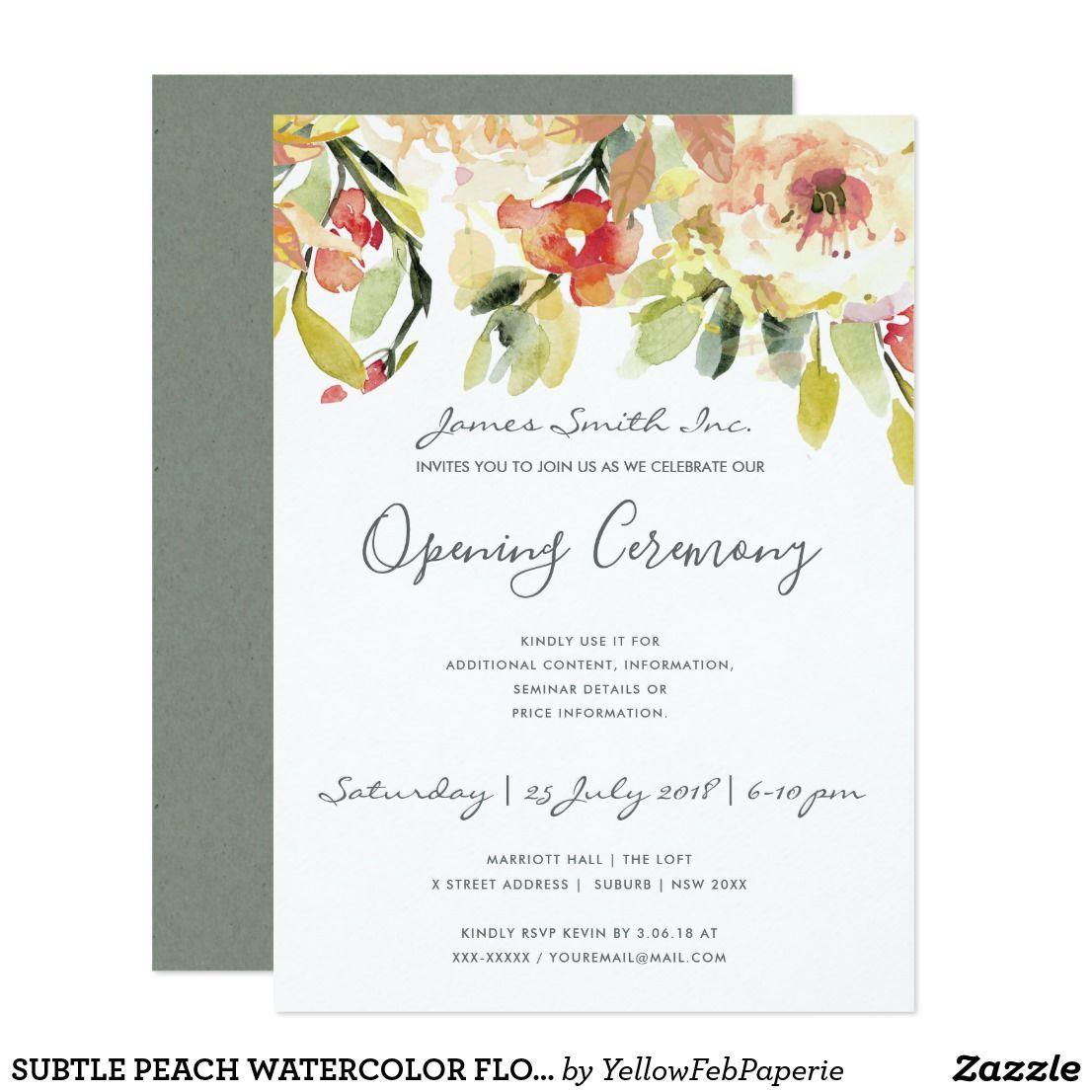Peach Watercolor Floral Grand Opening Ceremony Invitation Zazzle Com In 2020 Grand Opening Invitations Invitations Floral Watercolor