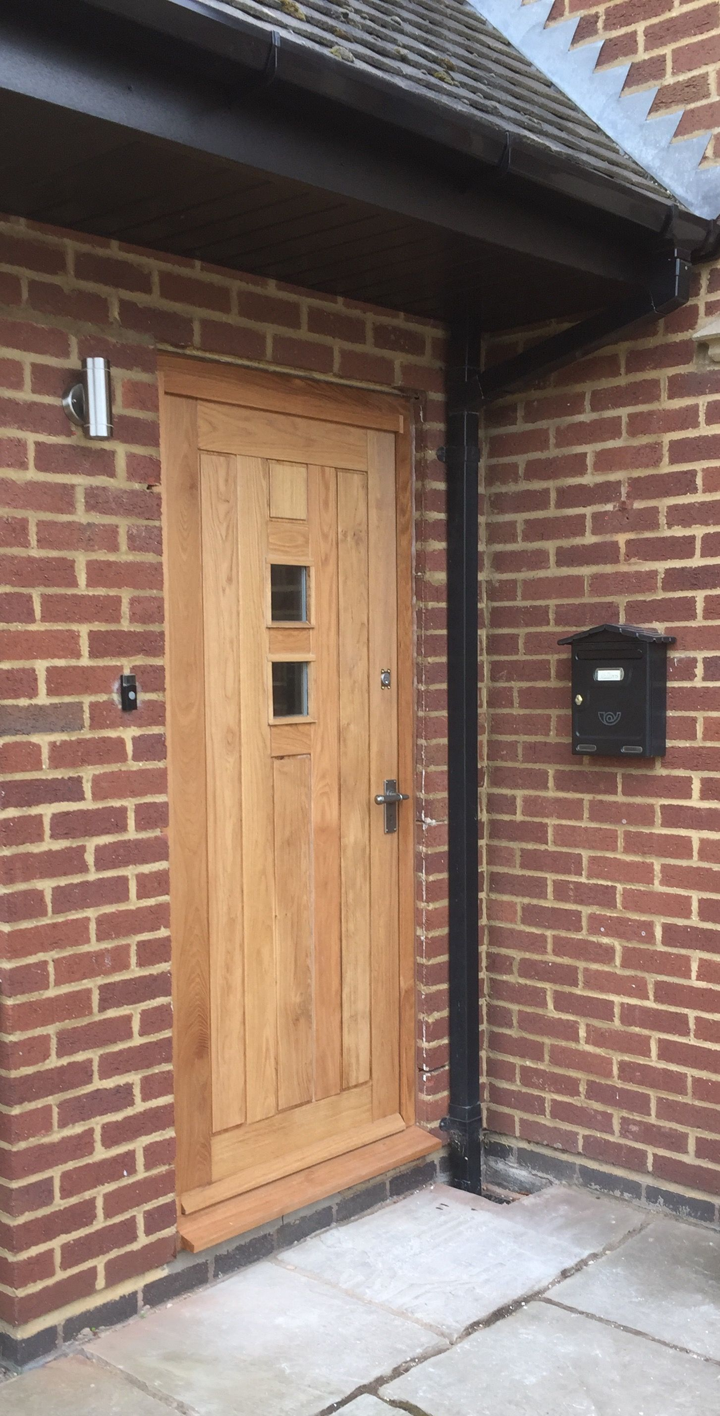 Solid Oak External Door And Door Frame With 2 Glass Windows