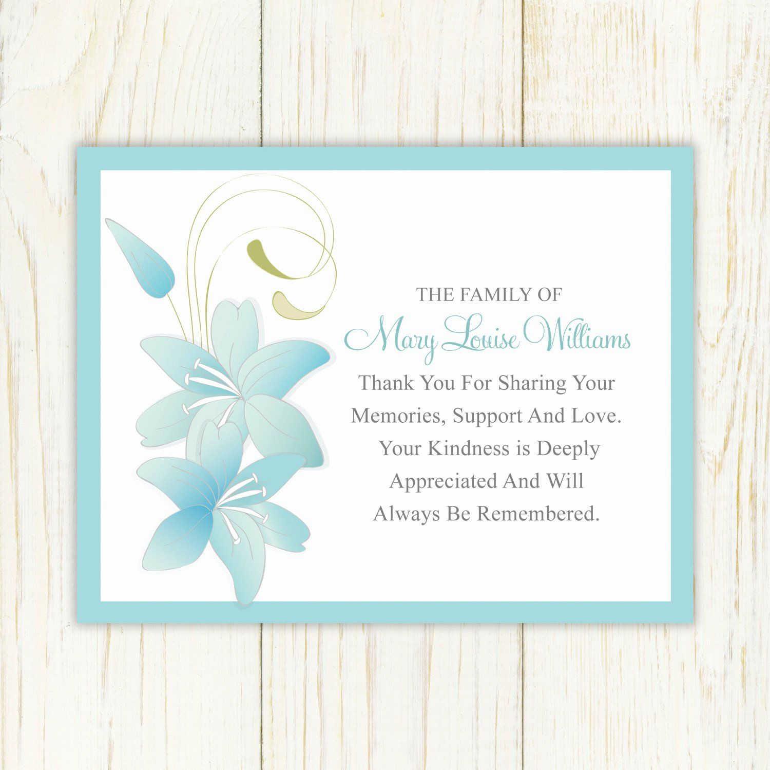 Thank You Card For Money Lovely Sympathy Thank You Card Printable By Eloycedesigns On Funeral Thank You Cards Sympathy Thank You Cards Thank You Card Template