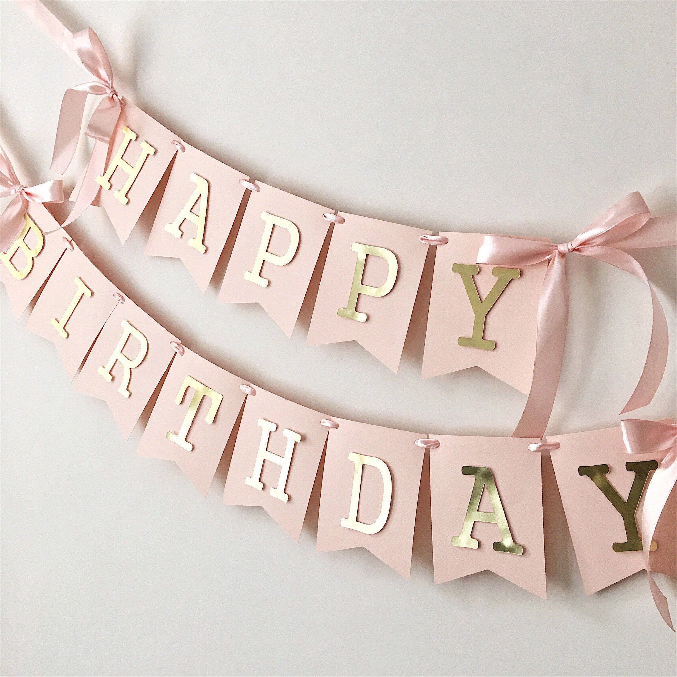 Blush Rose Gold Happy Birthday Banner Personalized Girl 1st Etsy Diy Birthday Banner Baby Birthday Party Girl Gold Birthday Party Decorations