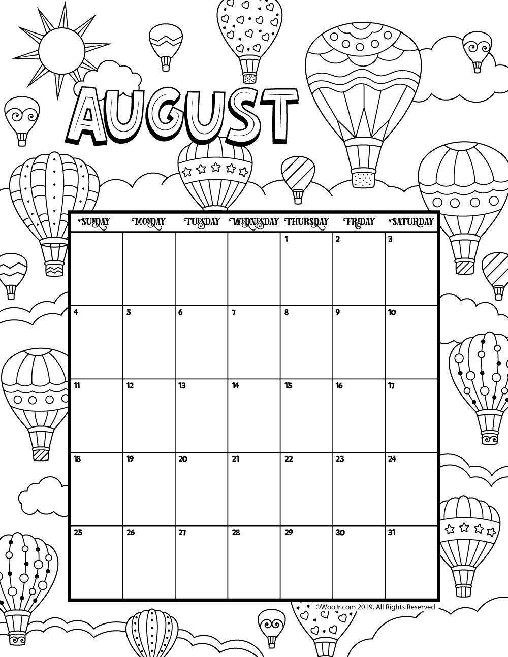 August 2019 Coloring Calendar Kids Calendar August Calendar