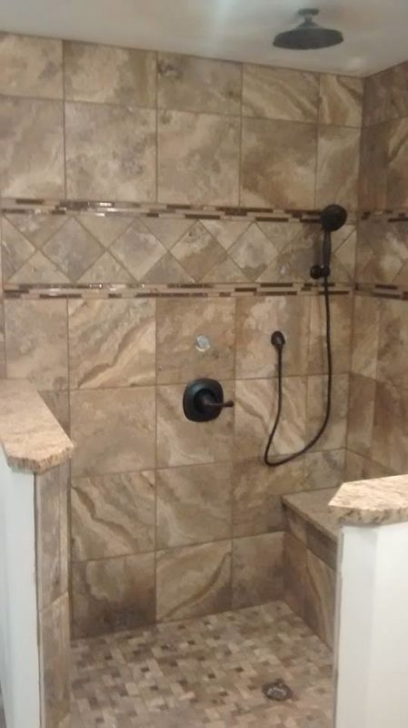 Images Of Marazzi Archaeology series tiles pinwheel mosaics bullnose granite wall caps shower bench