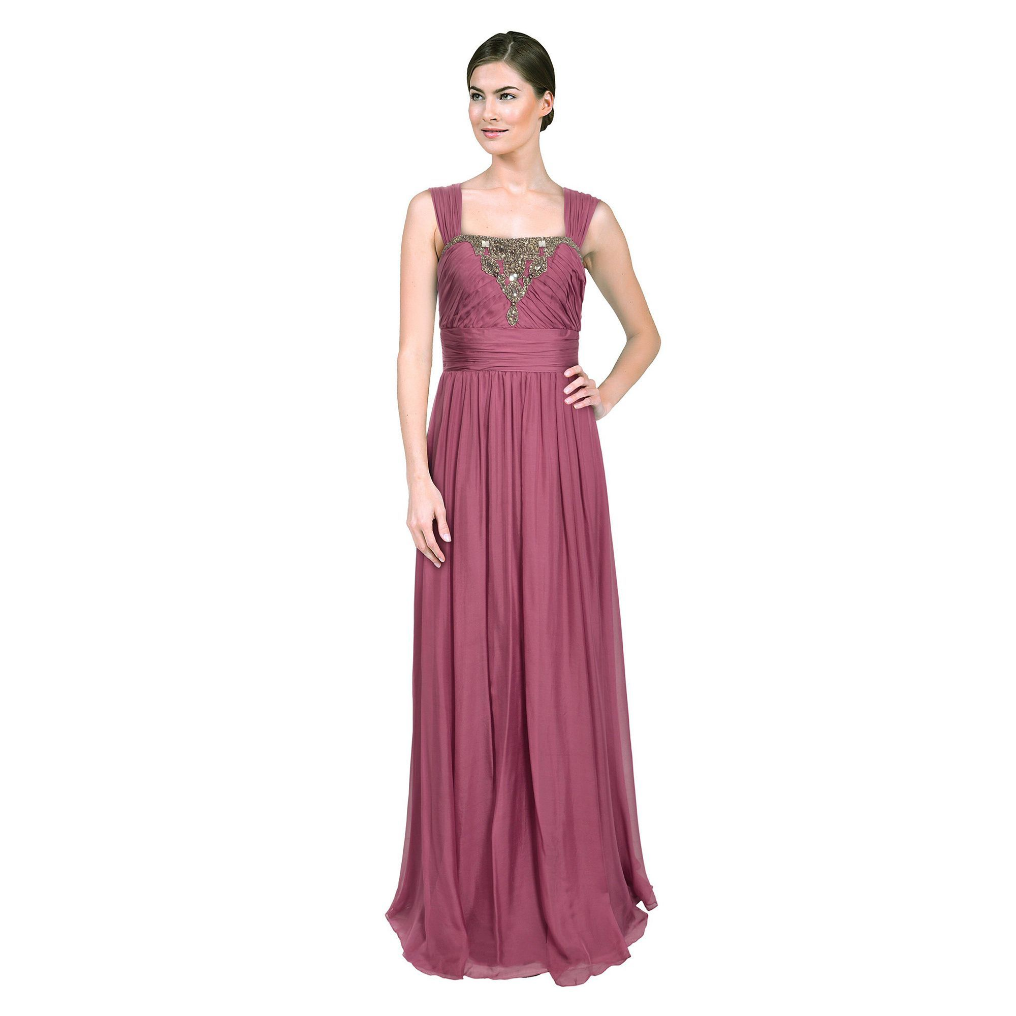 This airy purple chiffon evening gown features a classic sleeveless ...