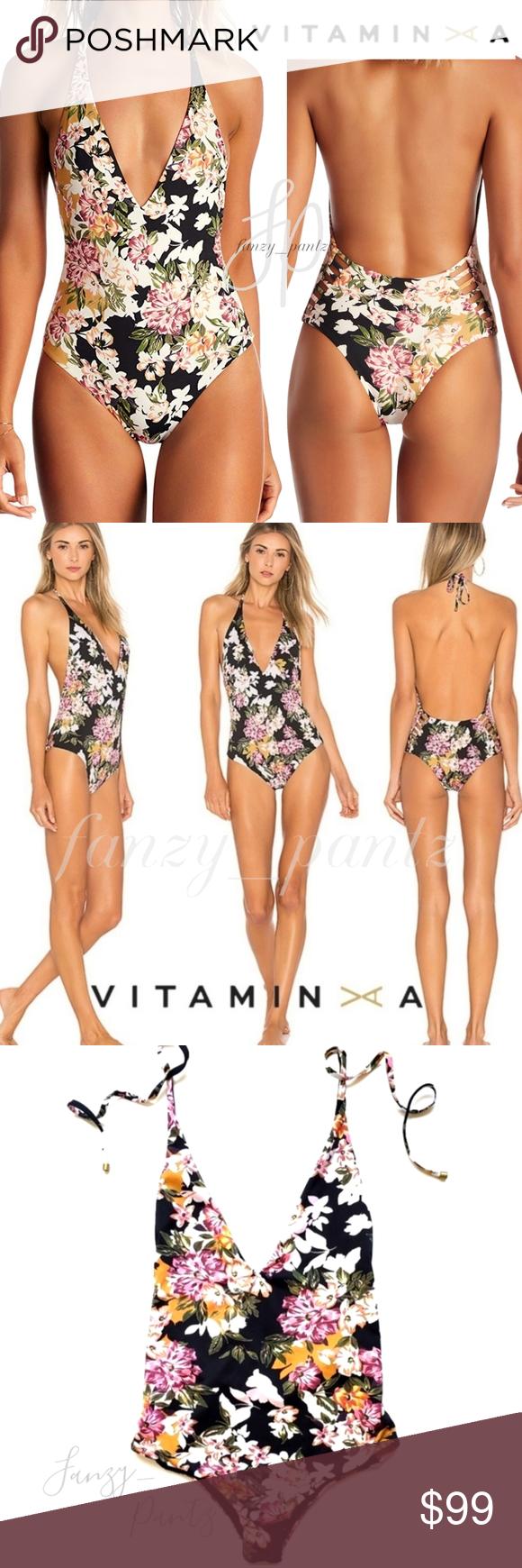 Vitamin A Womens Black Ecolux Bianca Bodysuit One Piece Plunge Halter