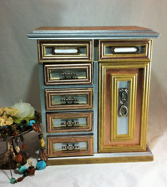 Large Wood Jewelry Box Mixed Metal Jewelry Armoire Gold Jewelry Storage Metallic Jewelry Organizer Damas Wood Jewelry Box Jewelry Armoire Large Jewelry Box