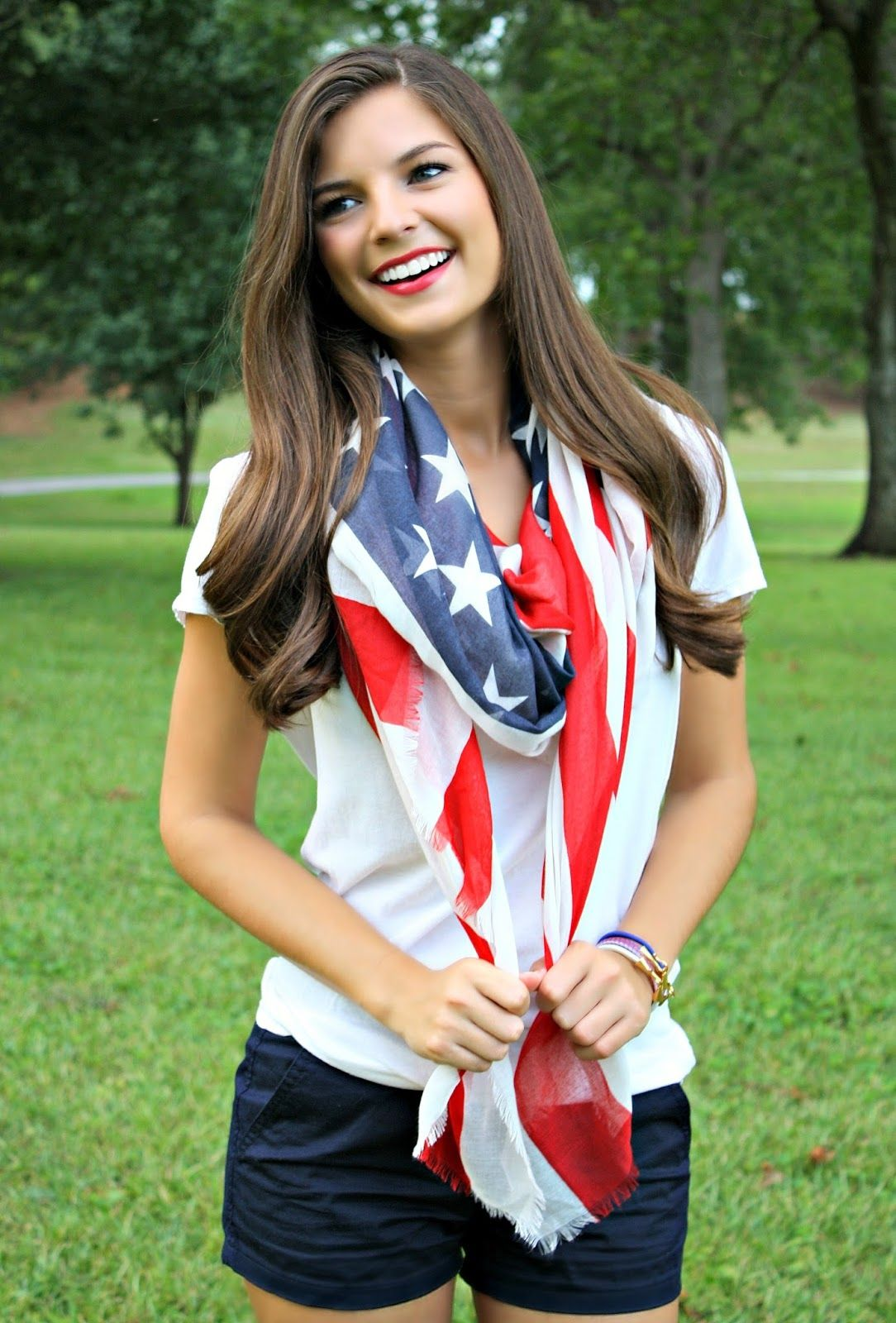 fbbeeaeef1b8cb Chasing Abigail Lee - Fourth of July Outfit Inspiration. American flag  scarf. Nautical. Summer outfit.