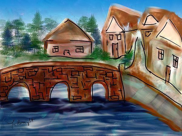 English Village By Frank Bright iPad Painting - Digital Art