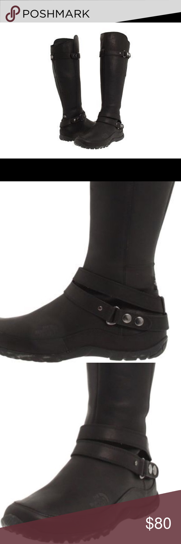 b46d7af88 North face Bryn black leather tall boots Preowned The North Face ...