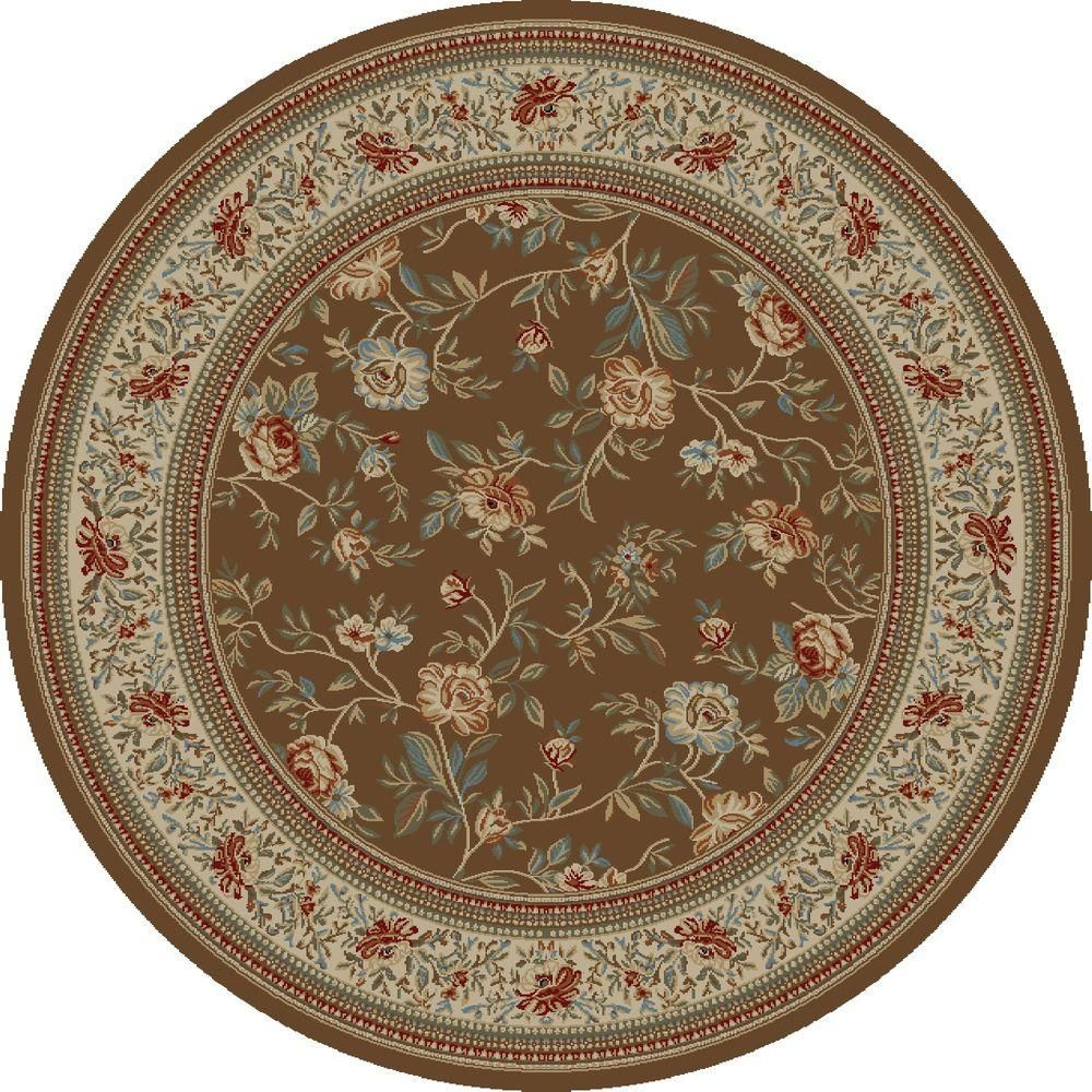 Concord Global Trading Ankara Floral Garden Brown 8 Ft Round Area