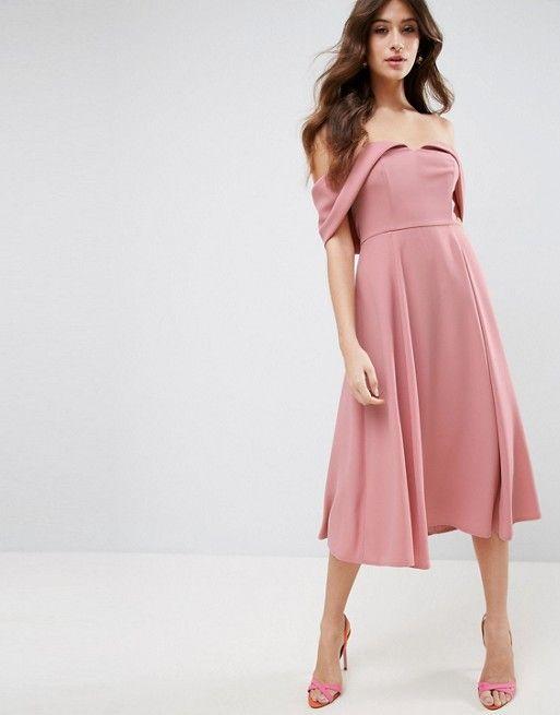 Bardot Off Shoulder Midi Prom Dress | Vestidos de graduación, Escote ...