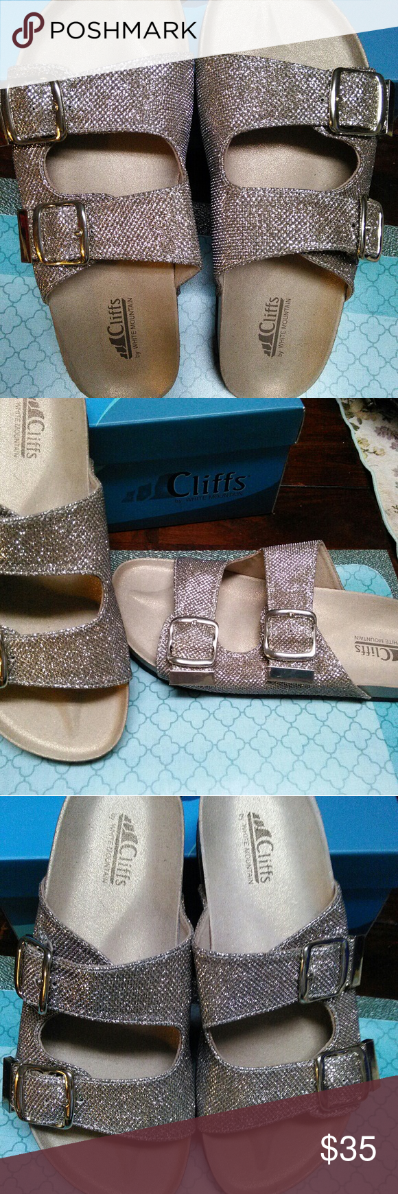 2ea1f05f9878 CLIFFS BY WHITE MOUNTAIN BIRKENSTOCK SANDALS Beautiful sandals with a gold  shimmer in EXCELLENT condition.