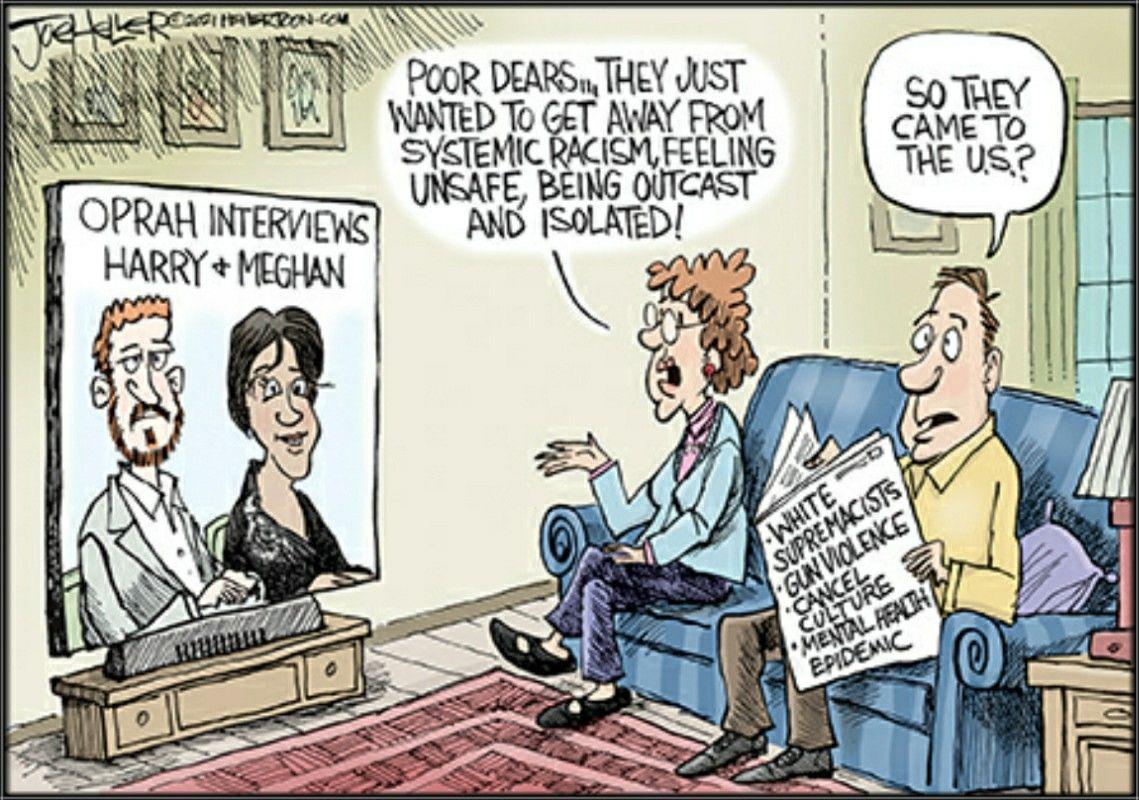 Joe Heller Harry Meghan In 2021 Funny Cartoons Harry And Meghan Editorial Cartoon