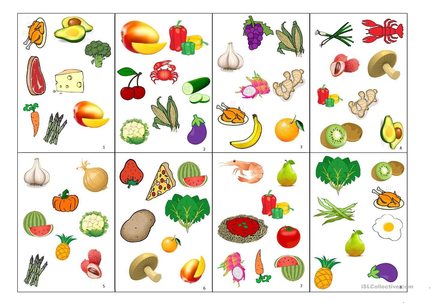 Spot It Card Game Fruits And Vegetables