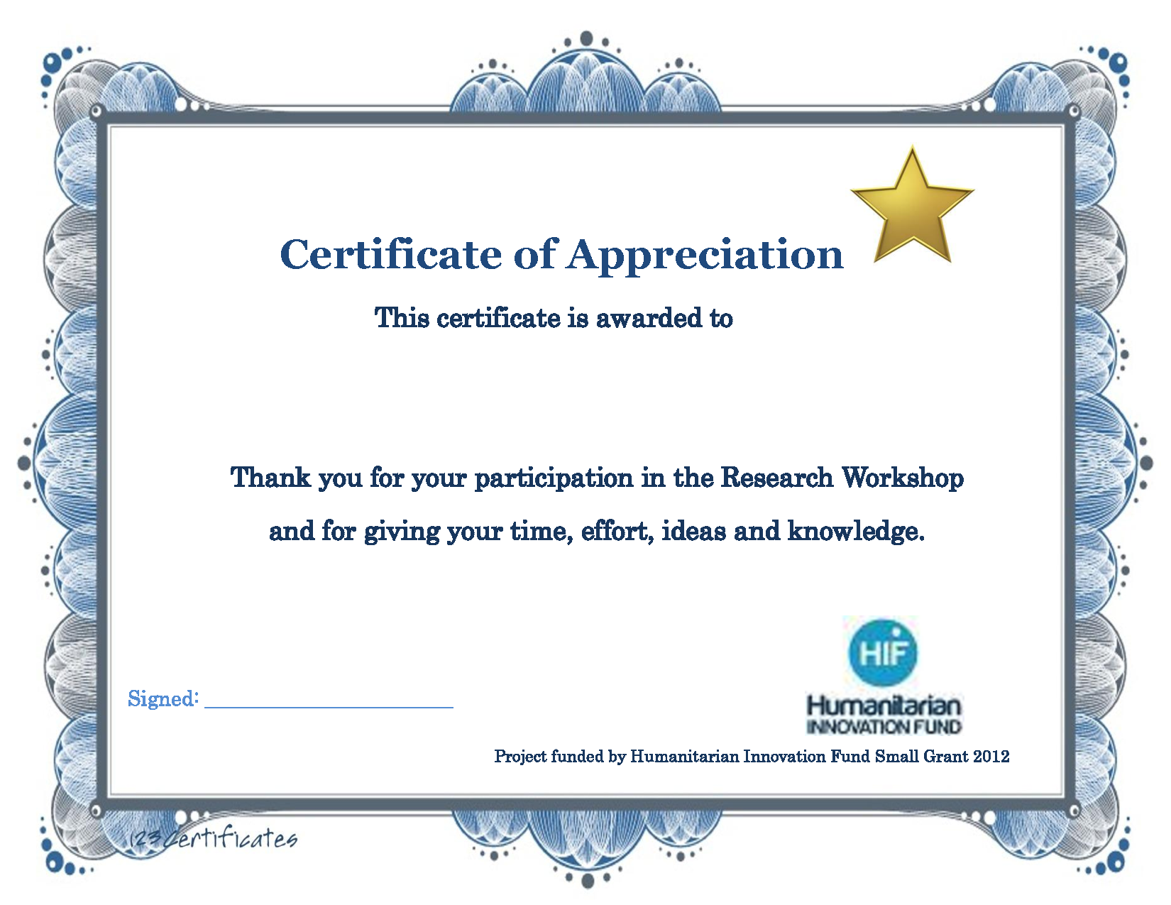 Thank You Certificate Template  Certificate Of Participation Free Template