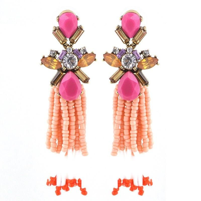 GLAM DROP EARRING - PINK CORAL