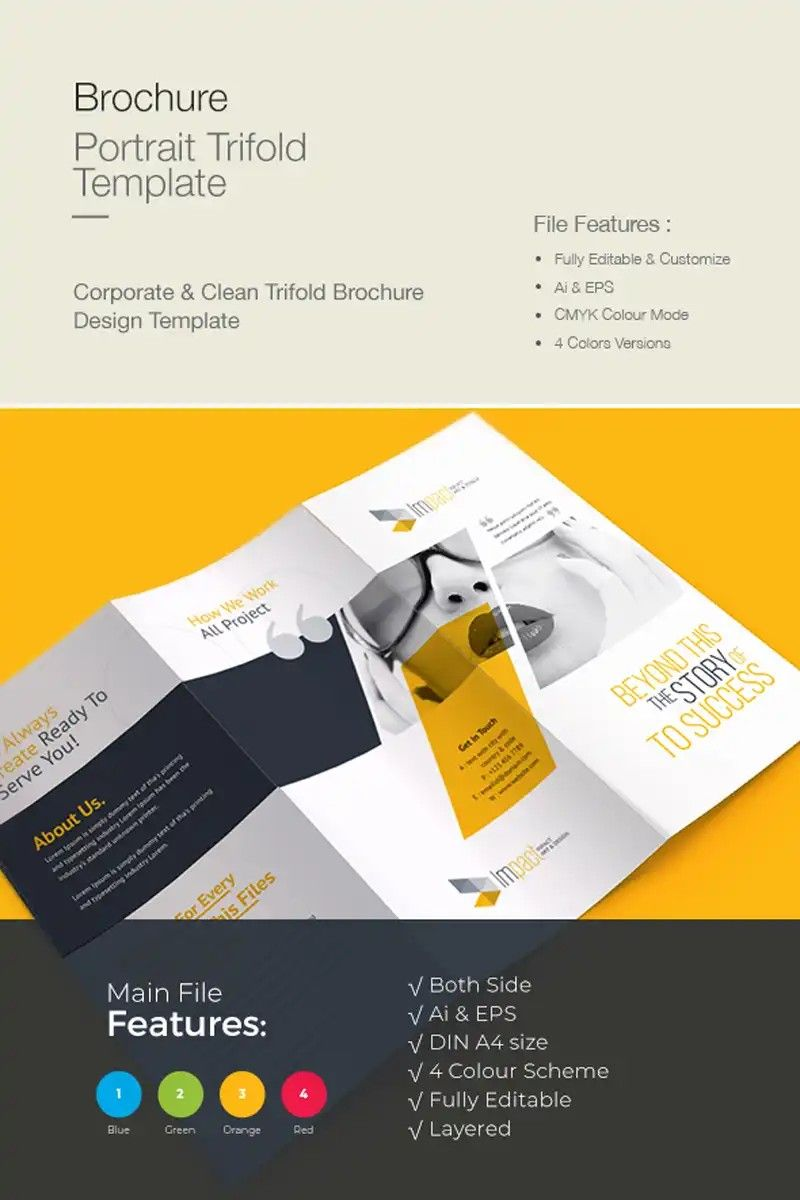 Trifold Brochure Design Yellow And White Brochure Design