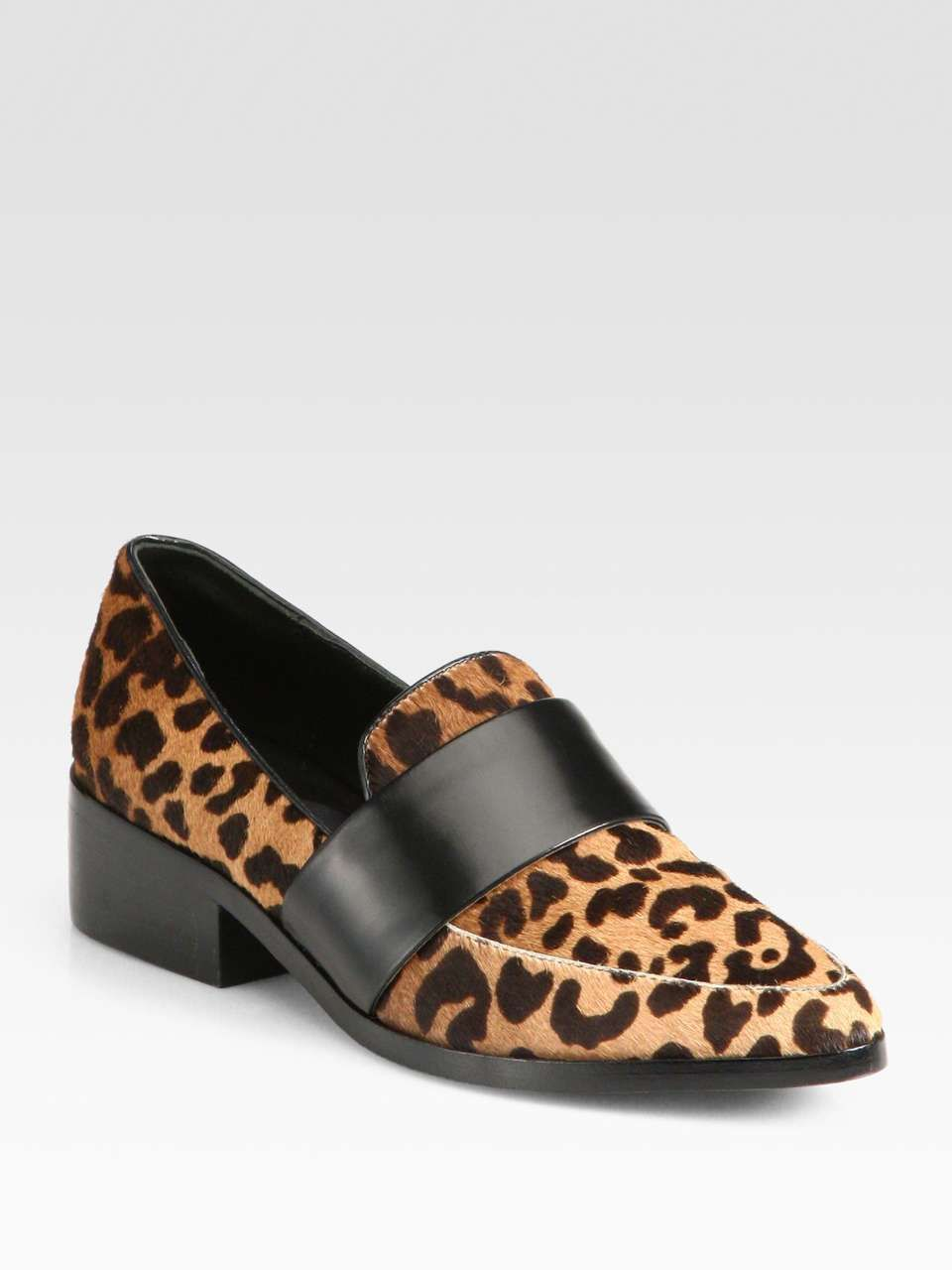 3.1 Phillip Lim Quinn Leopard-Print Calf Hair & Leather Loafers | womens  flat shoes